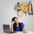 Woman wishing a vacation at famous place Royalty Free Stock Photo
