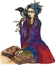 Woman witch with black raven Stock Photos