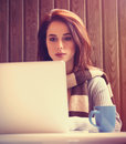 Woman woking with notebook young brunette Stock Photo
