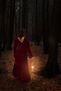 Woman in woods caucasian brunette dark with red velvet dress and lamp walking away circle of light Stock Images