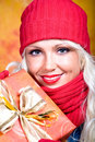Woman with wool scarf Royalty Free Stock Photography