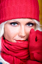 Woman with wool scarf Stock Images