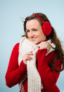 Woman and woolen outfit Royalty Free Stock Image