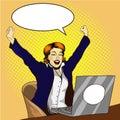 Woman work on laptop retro comic pop art vector illustration. Businesswoman in office. Job is done concept
