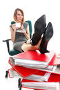 Woman work stoppage businesswoman relaxing legs up plenty of doc holding documents isolated white red folder coffee time young Stock Images