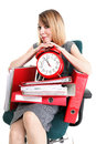 Woman work stoppage Overworked businesswoman plenty of documents Stock Images