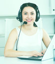 Woman working in call-center Royalty Free Stock Photo