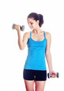 Woman working dumbbells isolated white background Royalty Free Stock Photos