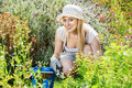 Woman working in garden using horticultural instruments on summer day Royalty Free Stock Photo