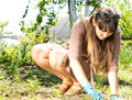 Woman working in her garden attractive with sunglasses on top of head crouching down weeding the soil with gloved Stock Photos