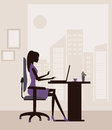 Woman working on laptop at the office vector Stock Photo