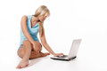 Woman working with laptop young girl Royalty Free Stock Photography