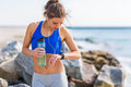 Woman working out at the beach Royalty Free Stock Photo
