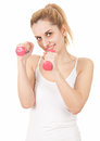 Woman working out with small dumbbells Stock Photography