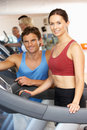 Woman Working With Personal Trainer Royalty Free Stock Image