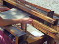 Woman working - Weaving Royalty Free Stock Images