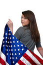 Woman Wrapped in a Flag Royalty Free Stock Photo