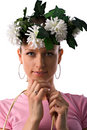 Woman with wreath on head Stock Photos