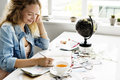 stock image of  Woman Writing Diary Journey Travel Concept