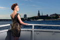 Woman on the yacht in riga Royalty Free Stock Photos