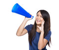 Woman yell with loudspeaker isolated on white Stock Photos