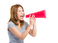 Woman yell with megaphone isolated on white Stock Image
