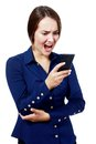 Woman yelling at her phone Royalty Free Stock Photo