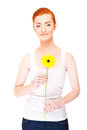 Woman with yellow flower near her face on white background big smile Stock Image