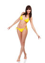 Woman in yellow swimsuit Royalty Free Stock Photos