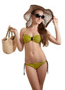 Woman in yellow swimsuit Stock Images