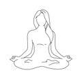Woman yoga pose. Lotus position silhouette. Vector illustration. Meditation monochrome icon Royalty Free Stock Photo