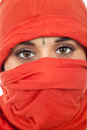 Woman young with a veil close up portrait studio picture Royalty Free Stock Photo
