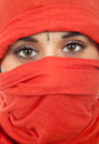 Woman young with a veil close up portrait studio picture Royalty Free Stock Images