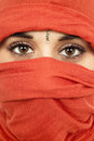 Woman young with a veil close up portrait studio picture Stock Image