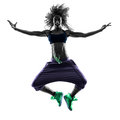 Woman zumba dancer dancing exercises silhouette one african in studio isolated on white background Stock Image