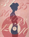 Womans biological clock illustration concept retro poster style of silhouette with ticking away in her abdomen surrounded by Stock Photo