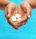 Womans cupped hands showing euro coins money and finances concept close up of Royalty Free Stock Images