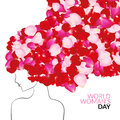 Womans day international holiday concept with rose petals instead of hair Royalty Free Stock Photo