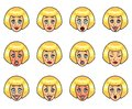 Womans emotions cartoon vector set and expressions Royalty Free Stock Image