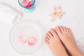 Womans feet after a pedicure Royalty Free Stock Photo
