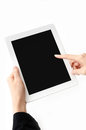 Womans hands holding a tablet PC Stock Image