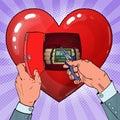 Womans Heart Bomb Disposal. Pop Art illustration