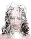 Womans portrait and a forrest with no leaves double exposure of young over white background Royalty Free Stock Photos