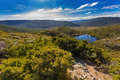 Wombat Pool surrounded by green mountains at Cradle mountain, La Royalty Free Stock Photo