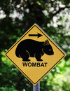 Wombat sign with arrow in forest Royalty Free Stock Photos