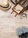 Women accessories small leather bag watch notebook shoe hat and necklace on wooden background composition and space for Stock Images