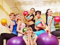 Women in aerobics class. Stock Photos