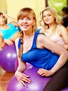 Women in aerobics class group Stock Photography