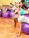 Women in aerobics class group Stock Images
