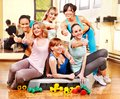 Women in aerobics class group Stock Photos
